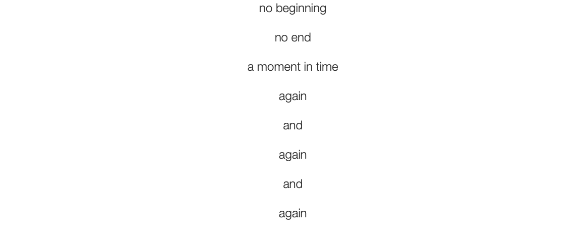 no beginning no end a moment in time again and again and again